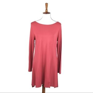 Soft Surroundings Solid Pink Red Long Sleeve Dress